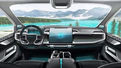 Como los Tesla, la concepción interior de la pick es súper tecnológica.