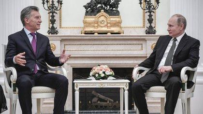 Mauricio Macri junto a Vladimir Putin, antes del almuerzo