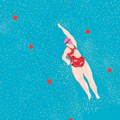 """Ilustración de la cubierta de """"Baño de damas"""", la novela de Natalia Rozemblum (Tusquets). La autora de la ilustración es Agustina Lemoine"""
