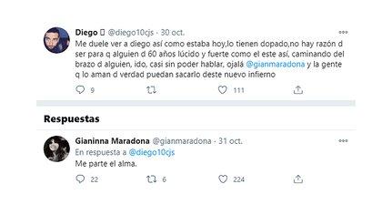 El mensaje que Gianinna Maradona le respondió a un seguidor