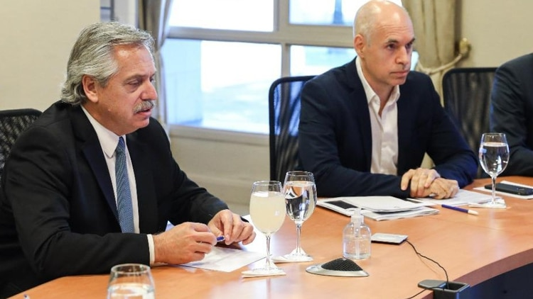 Alberto Fernández y Horacio Rodríguez Larreta, jefe de Gobierno porteño, en la quinta de Olivos.