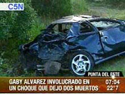 Así quedó el auto de Gaby Álvarez luego del choque (captura televisiva)