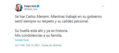 El pésame de Felipe Solá