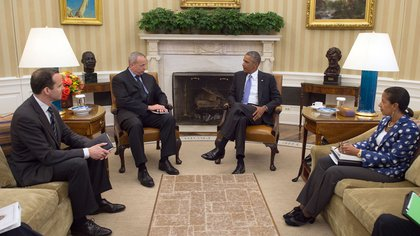 El Dr. Rice en una reunión en la Casa Blanca como Asesor de Seguridad Nacional del presidente Barack Obama.