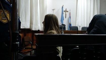 Nahir en la misma audiencia en donde se exhibió su video íntimo con Pastorizzo.