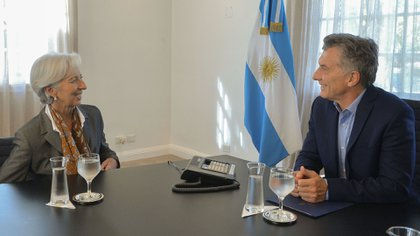Macri y Christine Lagarde, directora del FMI, en la Quinta de Olivos