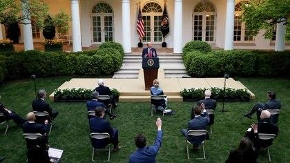 El presidente de EEUU, Donald Trump, en una rueda de prensa en la Casa Blanca el 14 de abril de 2020 (REUTERS/Leah Millis)