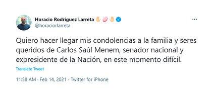 La publicación de Horacio Rodríguez Larreta