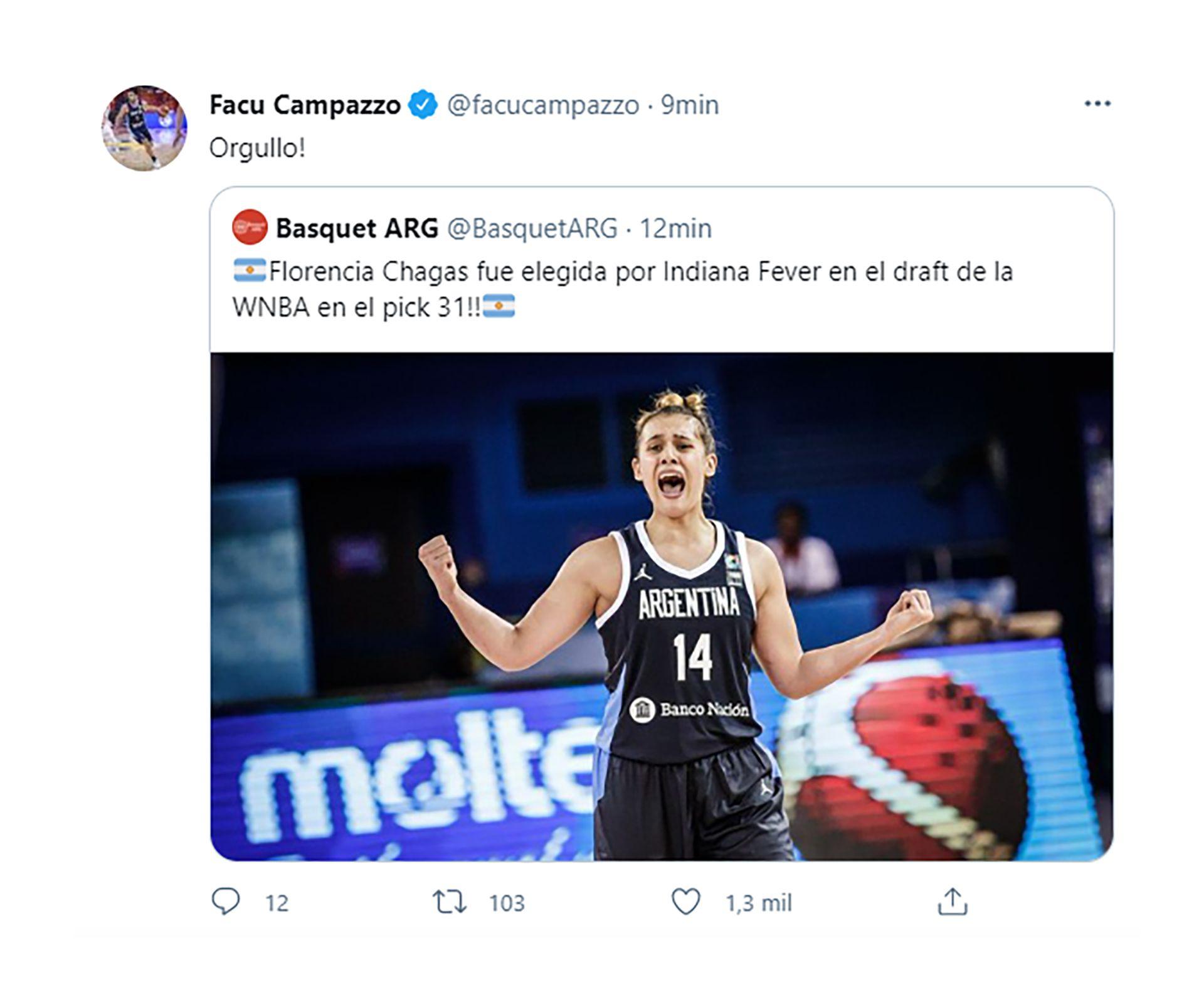 felicitación de Campazzo a Florencia Chagas por llegar a la NBA femenina