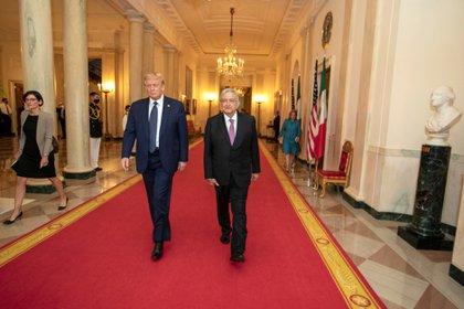 Durante la cena en la Casa Blanca, Trump volvió a elogiar a AMLO (Foto: Cortesía Presidencia de México)