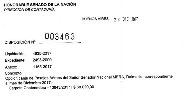 La disposición 3463/2017 le otorgó 68.0020 a Dalmacio Mera.