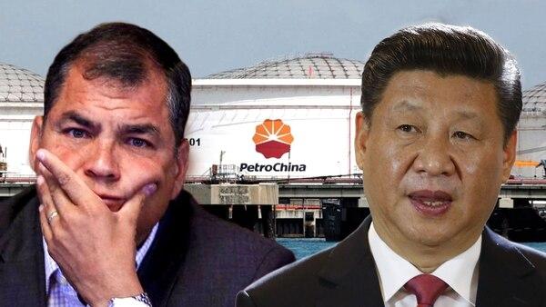 Rafael Correa quedó en el centro de las sospechas por corrupción por el contrato con PetroChina. A la derecha de la imagen, el jefe del régimen chino, Xi Jinping