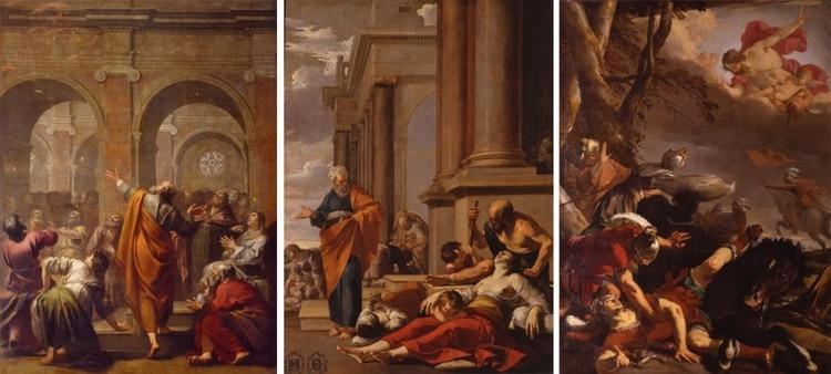"""""""El Descenso del Espíritu Santo"""" (1634) de Jacques Blanchard, y """"San Pedro curando al enfermo con su sombra"""" (1635) y """"La conversión de San Pablo"""" (1637) de Laurent de la Hyre"""