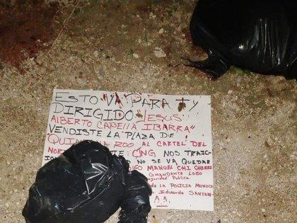 El narco mensaje que apareció con los pedazos de cuerpo (Foto: Twitter@fernand17704066)