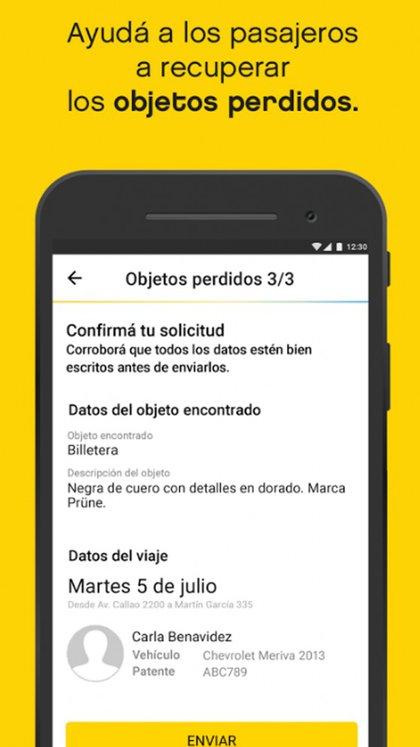 El usuario puede contactar al chofer en caso de que haya extraviado algún objeto en el taxi