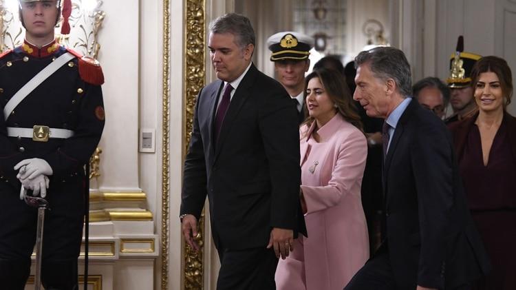 Duque al ingresar para la declaración conjunta (foto Télam)