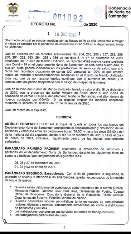 Decreto 1092 de la Gobernación de Norte de Santander para determinar toque de queda parcial y total en el departamento / (Gobernación de Norte de Santander).