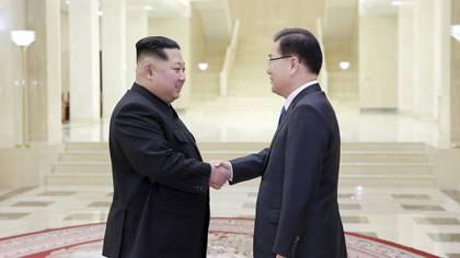 Kim Jong-un recibió el lunes a la delegación de Corea del Sur en la sede del Partido de los Trabajadores (Reuters)