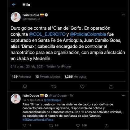 Iván Duque confirmó a través de Twitter la captura de alias 'Dimax', cabecilla del Clan del Golfo / (Twitter: @IvanDuque).