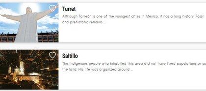 También aparecen mal traducidos los nombres de algunas ciudades (Foto: captura de pantalla www.visitmexico.com)