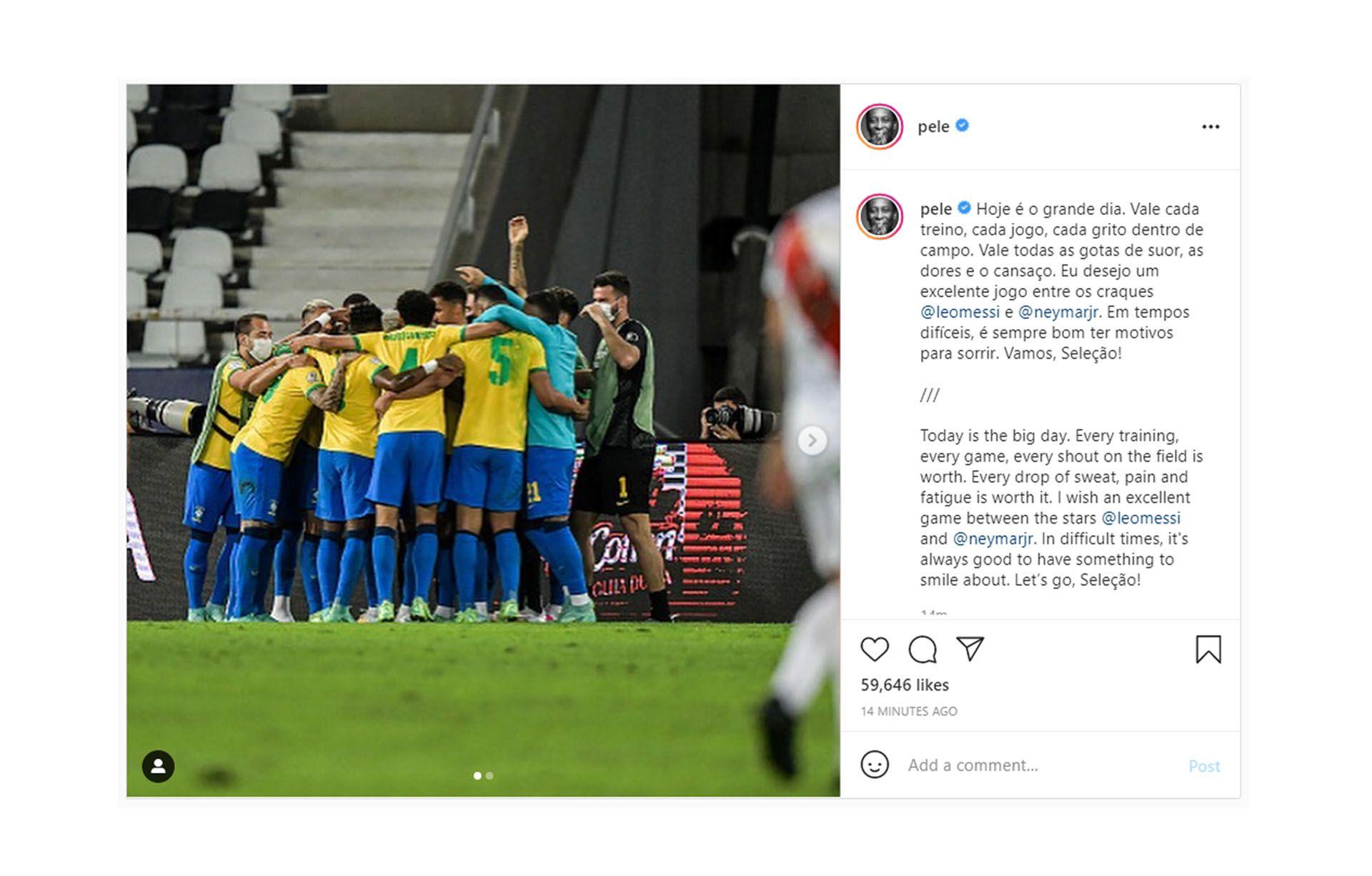 Mensaje de Pele en la previa de la final de Copa America