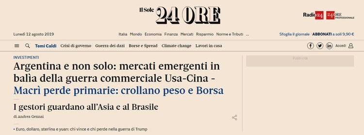 Il Sole 24 Ore también destaca la caída del peso, pero recuerda la inestabilidad general entre los emergentes