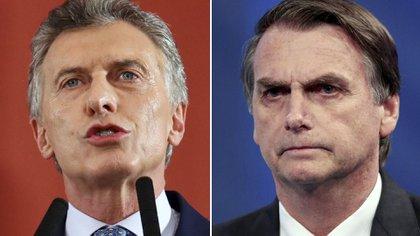 El presidente Macri y su par de Brasil, Jair Bolsonaro.