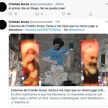 """El periodista deportivo chileno Cristián Arcos en uno de sus twitter del día después de la muerte de Diego: """"Primer día sin ti Diego, no se puede creer"""""""