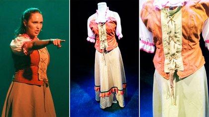 """El traje de Aldeana -que usó Ivanna Martin- es de """"La Llave Mágica, el musical… """". Es un traje de sastrería de alta costura, cosido a mano, con cordones y telas importadas, pana, tercipelos y volados también cosidos a mano. El corset tiene mangas con broderíe y telas nobles. Cuesta 12.000 pesos."""