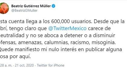 Beatriz Gutiérrez Müller  habló así contra Twitter (Foto: Twitter)