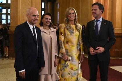 Horacio Rodríguez Larreta, Bárbara Diez, Máxima de Holanda y Mark Rutte, Primer ministro de Holanda