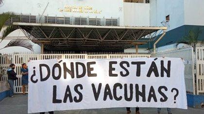 La protesta frente al Hospital de Niños José Manuel de los Ríos