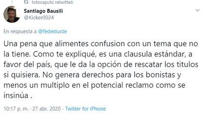 """El mensaje en Twitter de Santiago Bausili, ex secretario de Finanzas, en respuesta a Federico Sturzenegger, fue replicado por otro ex funcionario macrista Luis """"Toto"""" Caputo"""