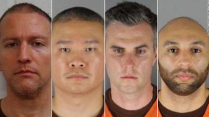 The four officers were detained.  Photo: Hennepin County Sheriff's Office
