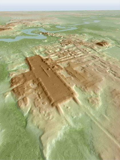 Una imagen tridimensional del antiguo sitio Maya Aguada Fenix en el estado de Tabasco basada en lidar, un método de detección remota aérea, 3 junio 2020. Takeshi Inomata/Entregada vía REUTERS
