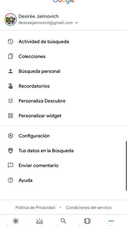 Para personalizar Google Descubre se puede ingresar al menú de Configuración de Google.