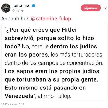 El mensaje de Jorge Rial en su cuenta de Twitter sobre los dichos de Catherine Fulop