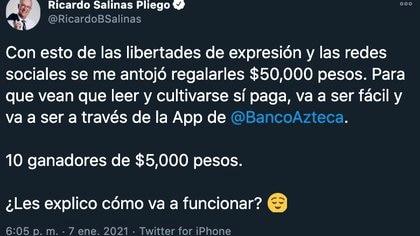 Twitter Ricardo Salinas Pliego (Foto: Twitter@RicardoBSalinas)