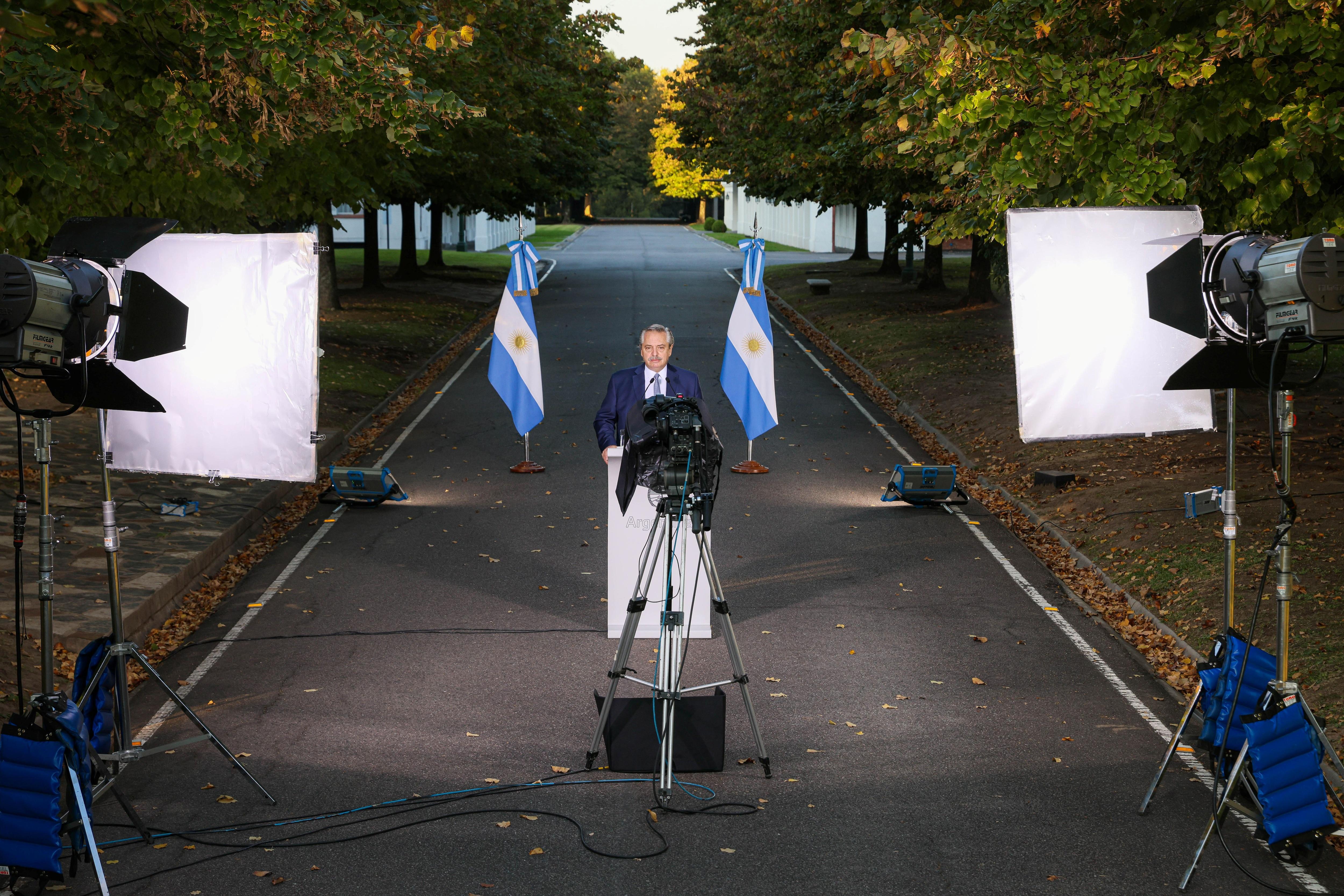 Alberto Fernández durante el anuncio de las nuevas medidas