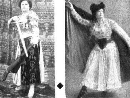 Rosita de la Plata, la compañera de Frank, en fotos tomadas en 1901 y 1902. (Revista  Caras y Caretas)