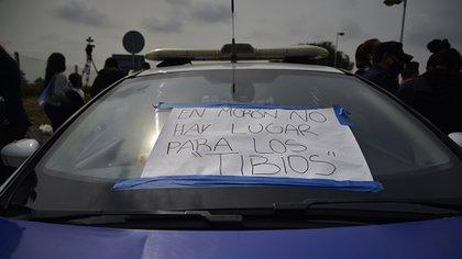 Mensaje de época en un patrullero en la protesta de hoy (Gustavo Gavotti)
