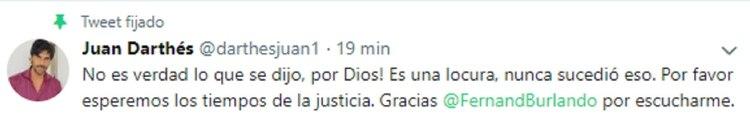 """El mensaje de Juan Darthés luego de la denuncia de violación de una actriz de """"Patito Feo"""""""