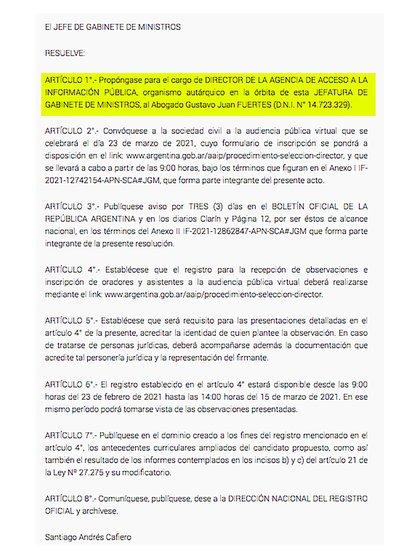 La propuesta deGustavo Fuertes como candidato a dirigir la Agencia, publicada en el Boletín Oficial
