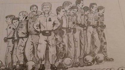"""Chanampa integró al grupo que se conoció como """"Los 12 del Patíbulo"""". Oficiales y suboficiales de las tres fuerzas que combatieron en Malvinas y que hasta el 14 de julio de 1982 -un mes después de la rendición- permanecieron como prisioneros de los ingleses en la islas. En el histórico dibujo: en primer plano, en el centro, Tomba; a la izquierda, Chanampa, Zanela, Navarro, Lema. A la derecha, Camiletti, Calderón, Carrasco, Potocsnyak, Moreno, Rivas y Flores"""