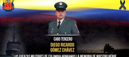 Cabo tercero Diego Ricardo Gómez, muerto en combates en Argelia, Cauca. / Ejército Nacional