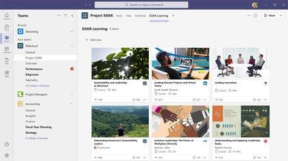 El módulo de aprendizaje de Viva brinda contenido de LinkedIn Learning, de Microsoft Learn, de terceros como Skillsoft, Coursera, Pluralsight y edX, y de la propia biblioteca de contenido de la organización.