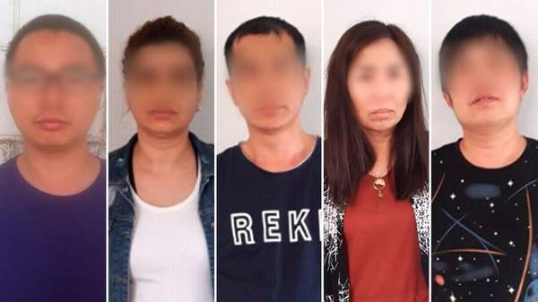 Los once detenidos del caso, entre ellos un argentino acusado de ser el remisero de las entregas de las extorsiones.