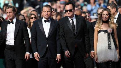 """Tarantino y parte de su elenco en la presentación de """"Once upon a time… in Hollywood""""(AP)"""