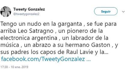 El mensajes de Tweety González para Leo Satragno