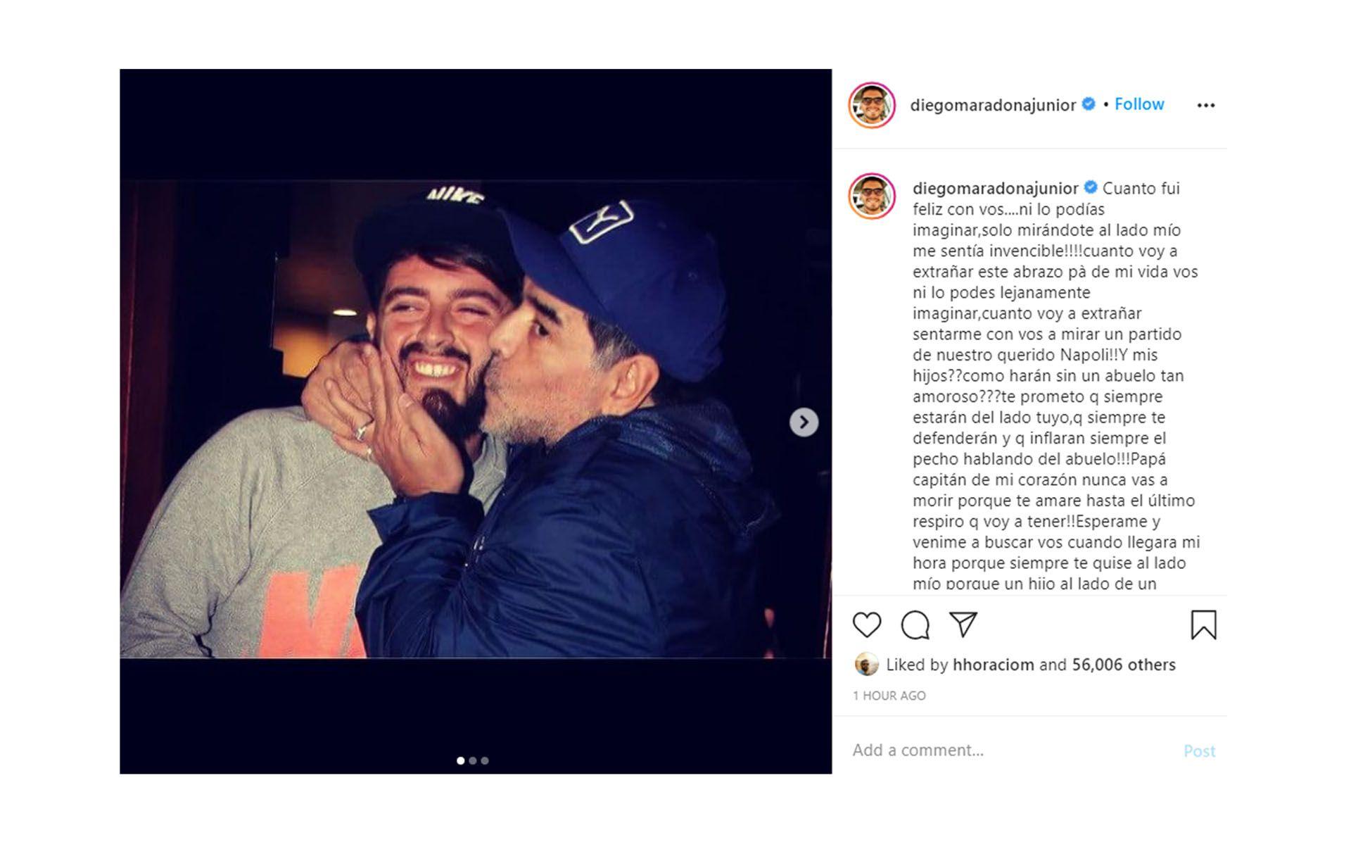 El posteo de Diego Maradona Jr a su padre